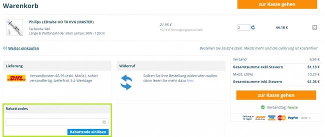 Gutschein-Hilfe Beleuchtungdirekt.at
